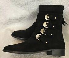 Stuart Weitzman jitterbug Black suede Ankle boot 4 buckles zip back size 7 New