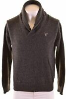 GANT Mens Shawl Neck Jumper Sweater Large Grey Lambswool  IB07