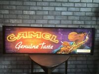 Joe Camel Vintage Lighted Bar Sign Double-Sided Motorcycle For Man Cave