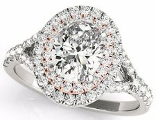 0.90 Tcw CZ Two Tone Oval Double Halo Engagement Ring 14 K White And Rose Gold