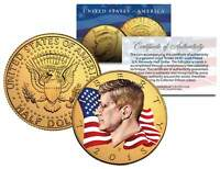 Colorized * FLOWING FLAG * 2015 JFK Kennedy Half Dollar Coin 24K GOLD PLATED (P)