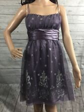 Masquerade Party Dress Size 4 Purple Silver Floral Sheer Mesh Formal Gown Small