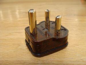 Vintage WG Bakelite 3 Round Pin Electrical Plug 15 amp (unfused) 196