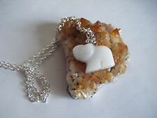 Spiritual Healing Snow Quartz Cute Elephant Necklace A Gentle Stone for All