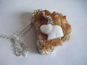Spiritual Healing Snow Quartz Cute Elephant Necklace A Gentle Stone for All