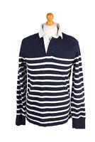 Vintage Merona Rugby Sweatshirt Shirt Long Sleeve Tops Retro MEN M Navy - PT1047