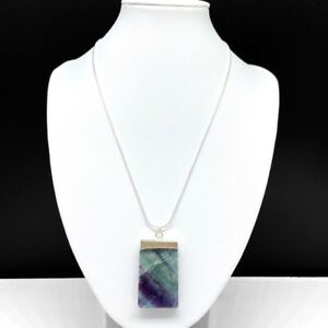 Fluorite Natural Stone Pendant Necklace Silver Plated Chain Green Purple Crystal