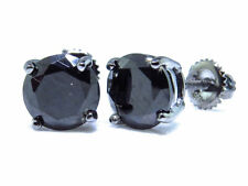 Sterling Silver Simulated Diamond Solitaire Earrings In Black Gold Finish (7mm)