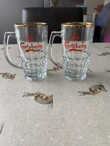 2x CARLSBERG LAGER GLASS TANKARD HALF PINT HEIGHT 5¼ INCHES (13CM)