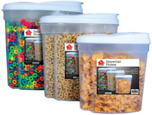 3 Pcs Plastic Cereal Dispenser Set - Dry Food Snack Nut Storage Containers White