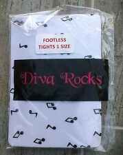 Diva Rocks White Footless Tights with musical notes, One Size, BNWT, Great Value