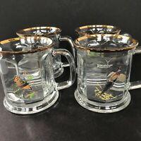 Set of 4 Vintage Ned Smith Duck Game Birds 10 oz Gold Rim Glass Beer Stein Mug