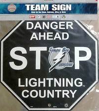 "Tampa Bay Lightning PV RETRO BLACK 12"" Plastic Wall STOP Sign Country NHL Hockey"