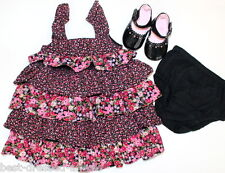 NWOT Baby Gap Flutter & Ruffle Floral Dress Size 3-6 Month Set Outfit Black Pink