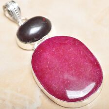 "Handmade Cherry Ruby Natural Gemstone 925 Sterling Silver Pendant 2.75"" #P08970"