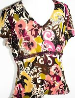 I.E. Women's Short Sleeve Multi-color Floral Pattern High Waist Silk Top Size M