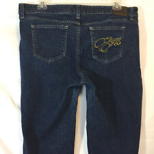 Enyce Womens Jeans Size 18 Denim Blue mid Rise Embellished Embroidered Stretch