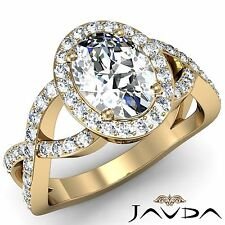 Curve Shank Oval Diamond Engagement Halo Ring GIA F VS2 18k Yellow Gold 2.1ct