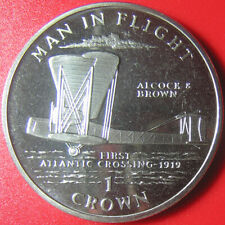 "1994 ISLE OF MAN 1 CROWN ""ALCOCK BROWN"" ATLANTIC CROSSING 1919 Cu-Ni (no silver)"