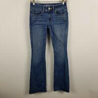 American Eagle Super Stretch Kick Boot Cut AEO Denim Womens Blue Jeans Size 2