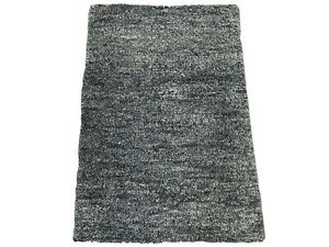 2X3 Black Modern Moroccan Hand-Knotted Wool Area Rug Small Oriental Carpet