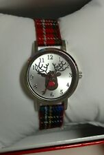 MIXIT Red Nosed Reindeer Plaid band Holiday Christmas Womens Watch JCpennys NEW!