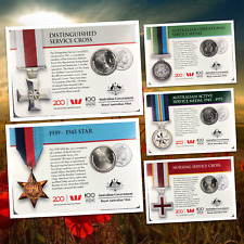 5 x UNC 20 Cent - 2017 Legends of the Anzacs Medals Collection UNC/High Grade