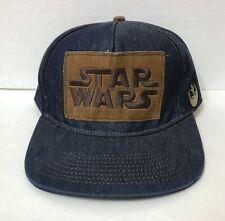 253f6b09f6ed6 STAR WARS REBEL ALLIANCE SNAPBACK HAT denim blue jean brown leather patch  ADULT