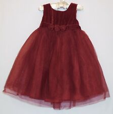 """Gymboree """"Holiday Celebrations"""" Red Rosettes Velveteen Tulle Holiday Dress, 3T"""