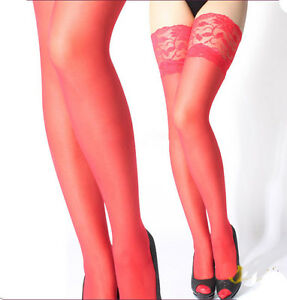 Sexy Lace Silicone Top Stay Up Thigh-High Stockings For Women Costume Pantyhose