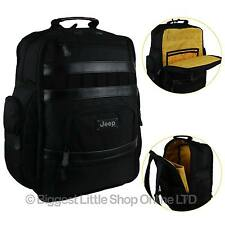 NEW Large Mens Black Backpack Rucksack by Jeep School Laptop Bag Travel Yellow
