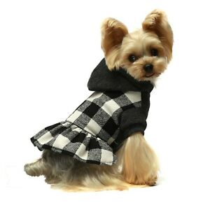 Fitwarm Plaid Dog Winter Clothes Knitted Pet Sweater Dress Warm Hooded Coat Girl
