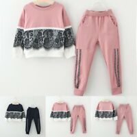 Toddler Kids Baby Girl Outfit Clothes Lace Floral Sweatshirt Tops+Pants 2PCS Set