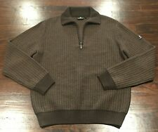 NAVIGARE Men's Zip Neck Wool Jumper Sweater Size L Brown Stretch Long Sleeve