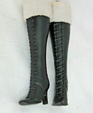 Black High Heel Barbie Lace Up Boots Knee High White Faux Fur Trim Cuffs Shoes