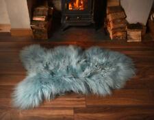 Super Soft Silky Feel Long Wool Icelandic Sheepskin Rug in Aqua Blue - Single