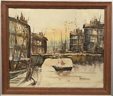 Mid century painting of a cityscape and boats in the bay. Signed Nansen 1960's