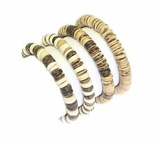 Set of 4 Coco Wood Bead Surfer Style Bracelet Wristband Elasticated - A