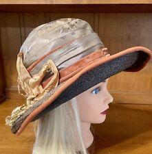 Edwardian Black Straw Hat Charlotte Haibe Paris Ny Silk Crown/trim (silk as is)