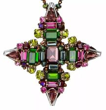Butterfly London Poison Ivy Fuchsia & Green Crystal Statement Necklace New
