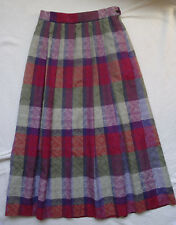 Geiger Austria 38 Pleated Colorful Plaid Embroidered Detail A-Line Skirt