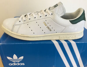 Mens Adidas Originals Stan Smith Leather Trainers White Green UK Size 9 EU 43.3