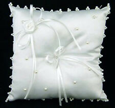 Adorable White Ring Bearer Pillow ~ Satin Pearls Wedding Decor Flowers Bridal