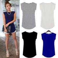 New Summer Women Lady Modal Cotton Sleeveless T-Shirt Soft Feel Plain Blouse Top