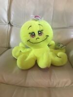 "New W Tags Toy Factory Octopus  Plush  Neon Yellow  12"" Stuffed Toy"