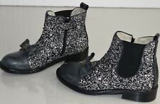 $495 NEW Monnalisa Kids Girls Boots Beatles GLITTER Grey Leather  Bow Shoes 30