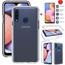 For Samsung Galaxy A20S Shockproof Clear Silicone Phone Case+HD Tempered Glass