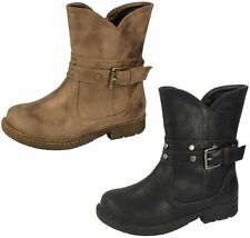Spot on Mid-Calf Buckle Synthetic Women's Boots