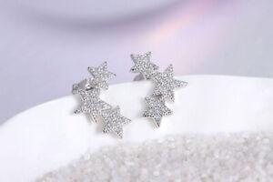 Women Fashion Jewellery 925 Sterling Silver Triple Star Linked Stud Earring Gift