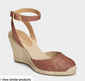 Aerosoles Martha Stewart meadow wedge espadrilles red fabric ankle strap